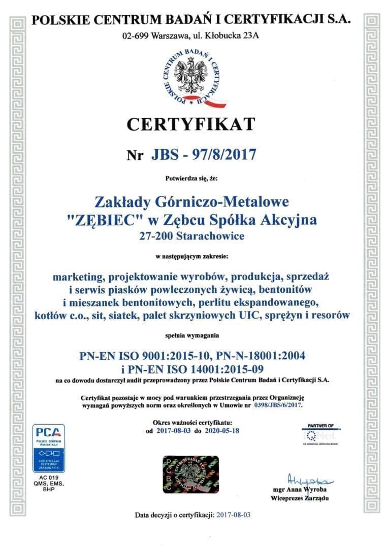 zębiec certyfikat