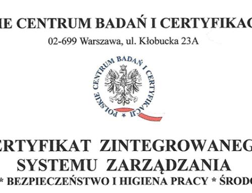 Odnowienie certyfikatu Zintegrowanego Systemu Zarządzania