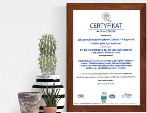 Certyfikat Zintegrowany System Zarządzania